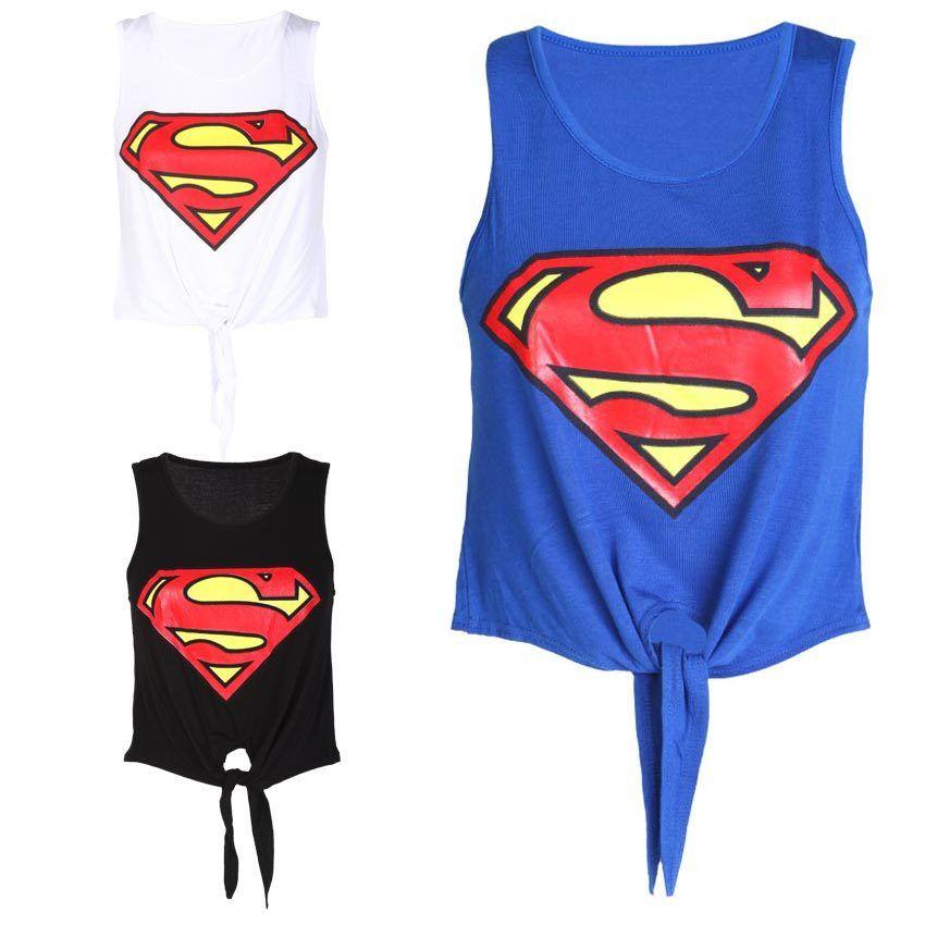 "LADIES TIE UP ""SUPERMAN"" PRINTED CROP TOP WOMENS TIE T- SHIRT VEST SIZE 8-14 | eBay"