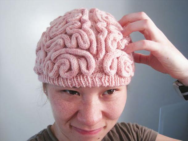 hat beenie pink brain