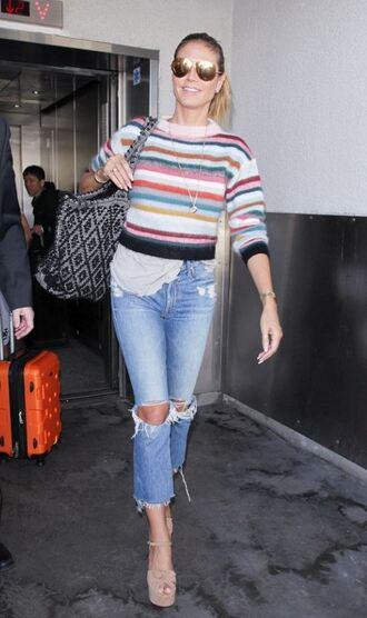 sweater stripes striped sweater heidi klum sandals jeans