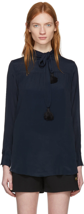 blouse bow tassel navy top