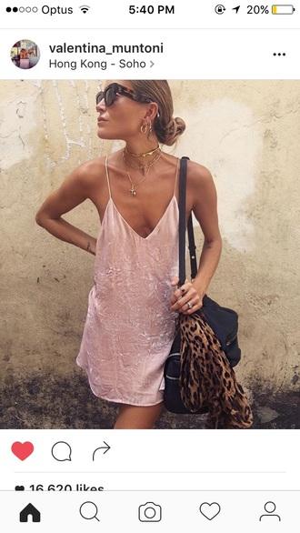 dress silk pink slip dress pink dress