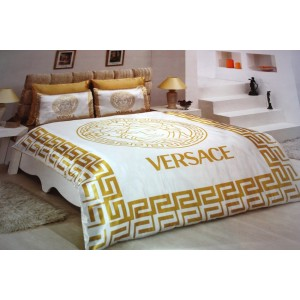 VERSACE BEDDING SET SATIN MEDUSA ( DUVET SET ) GOLD/WHITE