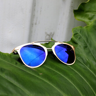 sunglasses blue gold mirrored lenses mirrored sunglasses glasses sunnies accessories accessory summer summer accessories style trendy