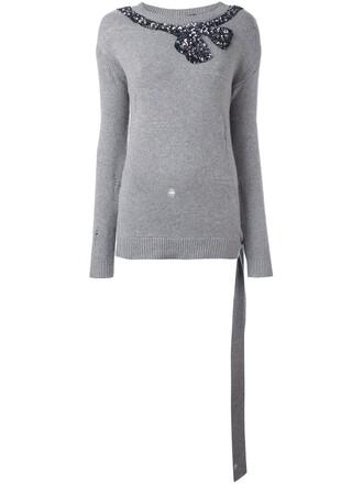 jumper bow grey sweater