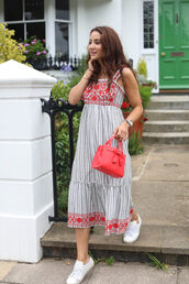dress,tumblr,stripes,striped dress,summer dress,summer outfits,sneakers,white sneakers,low top sneakers,bag,red bag,midi dress