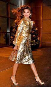 coat,metallic,gold,sandals,trench coat,zendaya,fall outfits