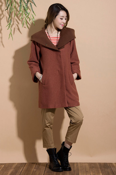 coat wool jacket red camel jacket