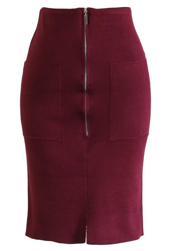 skirt chicwish zip knitwear pencil skirt wine