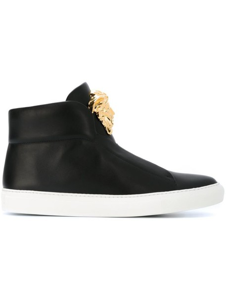 VERSACE metal women sneakers leather black shoes