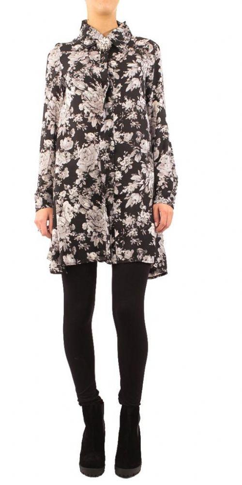 Glamorous Black Winter Floral Swing Shirt