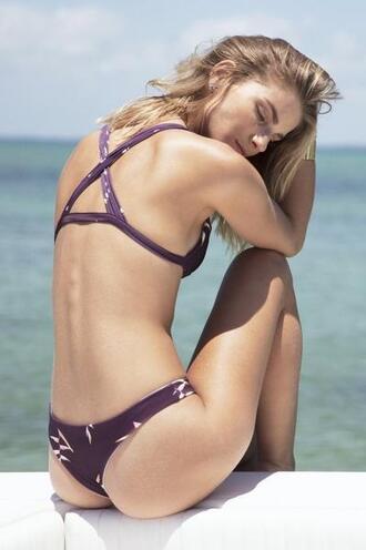 swimwear bikini bottoms cheeky floral nirvanic swim print purple skimpy bikiniluxe