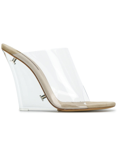 yeezy women mules leather nude shoes