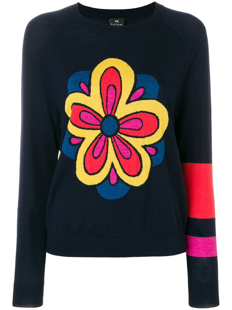 sweater embroidered women floral blue