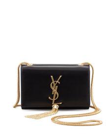 Cassandre small tassel crossbody bag, black