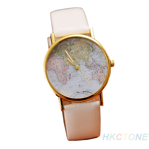Mens Womens Fashion Retro World MAP Leather Alloy Analog Quartz Wrist Watch B67U | eBay