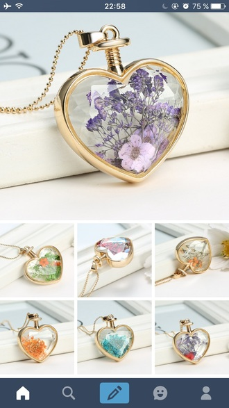 jewels necklace flowers floral heart gold necklace gold chain necklace