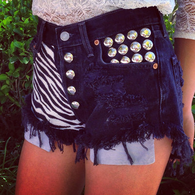 ZEBRA highwaisted denim shorts super frayed with print and studs size S/M/L/XL · Jeansgonewild · Online Store Powered by Storenvy
