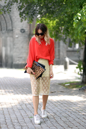 top,tumblr,orange,bag,clutch,leopard print,skirt,midi skirt,nude skirt,lace skirt,sneakers,white sneakers,low top sneakers,sunglasses,shoes