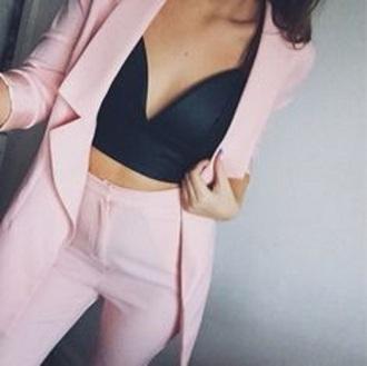 jacket bra top black bralette pink suit pastel womens suit pant suit pink trousers pale pink jacket blazer