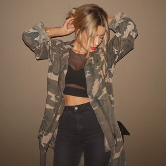 jacket camo jacket black outfit tumblr outfit cute cute outfits camouflage