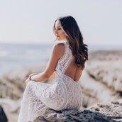 dress,white dress,lace dress,lace,wedding dress,gown,open back lace dress,summer