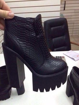 shoes tank sole black boots snake black heels