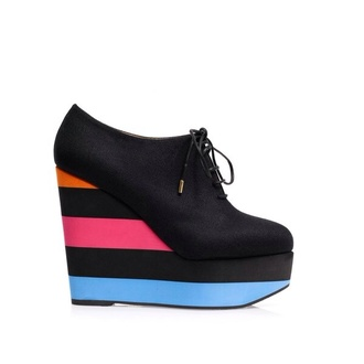 black shoes boots wedge wedge booties