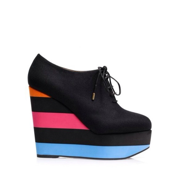 shoes black boots wedge wedge booties wheretoget