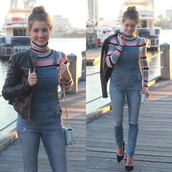 sweater,multicolor,stripes,denim,jumpsuit,overalls,swaeter,bag