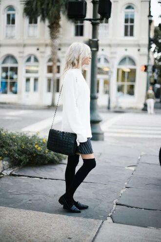 sweater tumblr white sneakers oversized sweater oversized white oversized sweater skirt mini skirt socks knee high socks black flats flats black shoes bag black bag shoulder bag fall outfits french girl style black loafers