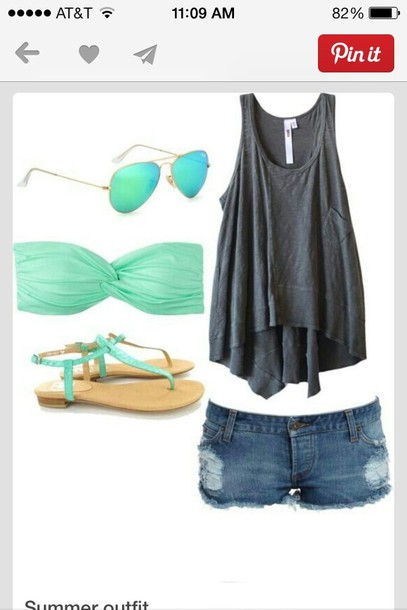 shirt shoes teal t-shirt shorts swimwear sunglasses top blue jeans tank top skirt aqua crop top and gray tank