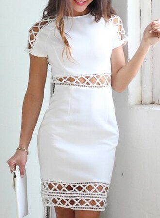 dress white sexy elegant midi dress party fashion style cut-out