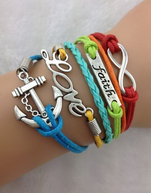 Rainbow Pride Love Faith Infinity Anchor Rope Bohemian Charm Bracelet | eBay