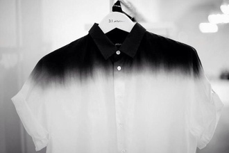 top black white ombre button-up top