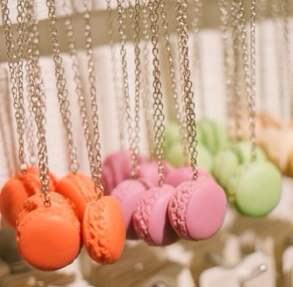 fashion necklace jewels baking jewelry necklaces colour food macarons