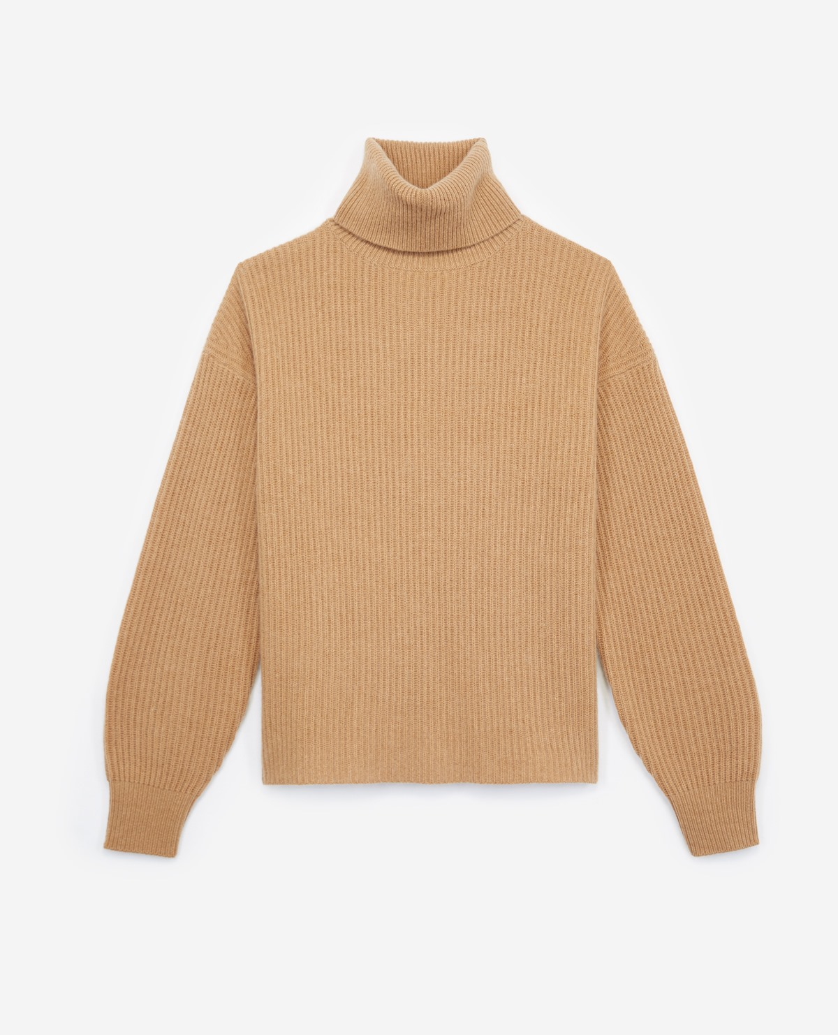 Side split long turtleneck sweater in camel