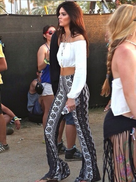 blue pants kendall jenner boho white and black pants