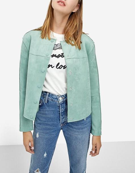 Stradivarius jacket green