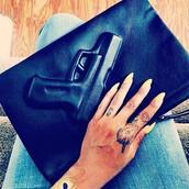 bag,clutch,gun clutch,leather clutch,bad,gun bag,gun,black bag,black clutch,vlieger&vandam,zip clutch,pistol clutch