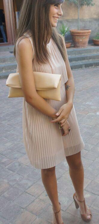 dress pleated dresss nude dress