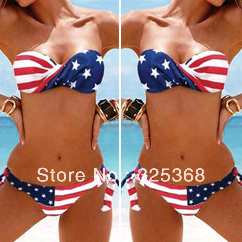 Hot 2013 Sexy Women Summer STARS And STRIPES USA Flag Bikini Set PADDED TWISTED BANDEAU Tube AMERICAN Swimwear-in Bikinis Set from Apparel & Accessories on Aliexpress.com