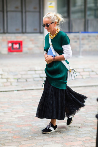 top green top fashion week street style fashion week 2016 fashion week london fashion week 2016 skirt black skirt maxi skirt sneakers black sneakers bag white bag crossbody bag sunglasses streetstyle