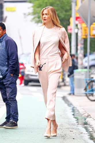 pants top blazer jacket pumps karlie kloss suit pink