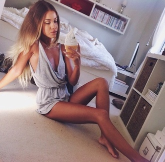 jumpsuit style fashion grey dress grey t-shirt romper low cut dress