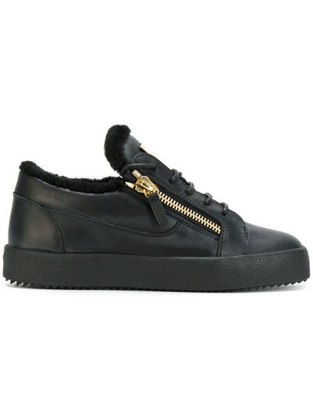GIUSEPPE ZANOTTI DESIGN fur women sneakers leather black shoes