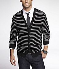 STRIPED COTTON CARDIGAN | Express