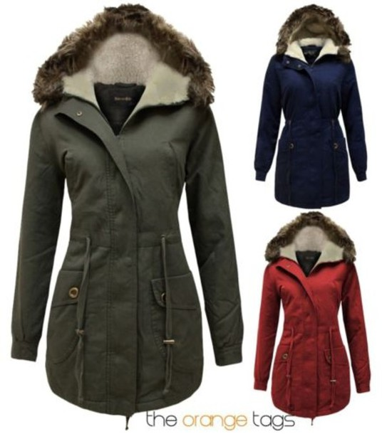 Coat: faux fur, parka, khaki, red, blue, fishtail parka, military ...