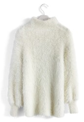 sweater,fluffy chic high neck sweater in white,chicwish,white,fluffy