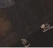 pants,windowpane,tumblr,aesthetic,black,culottes