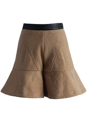 shorts,amiable flare wool-blend shorts intan,chicwish,tan